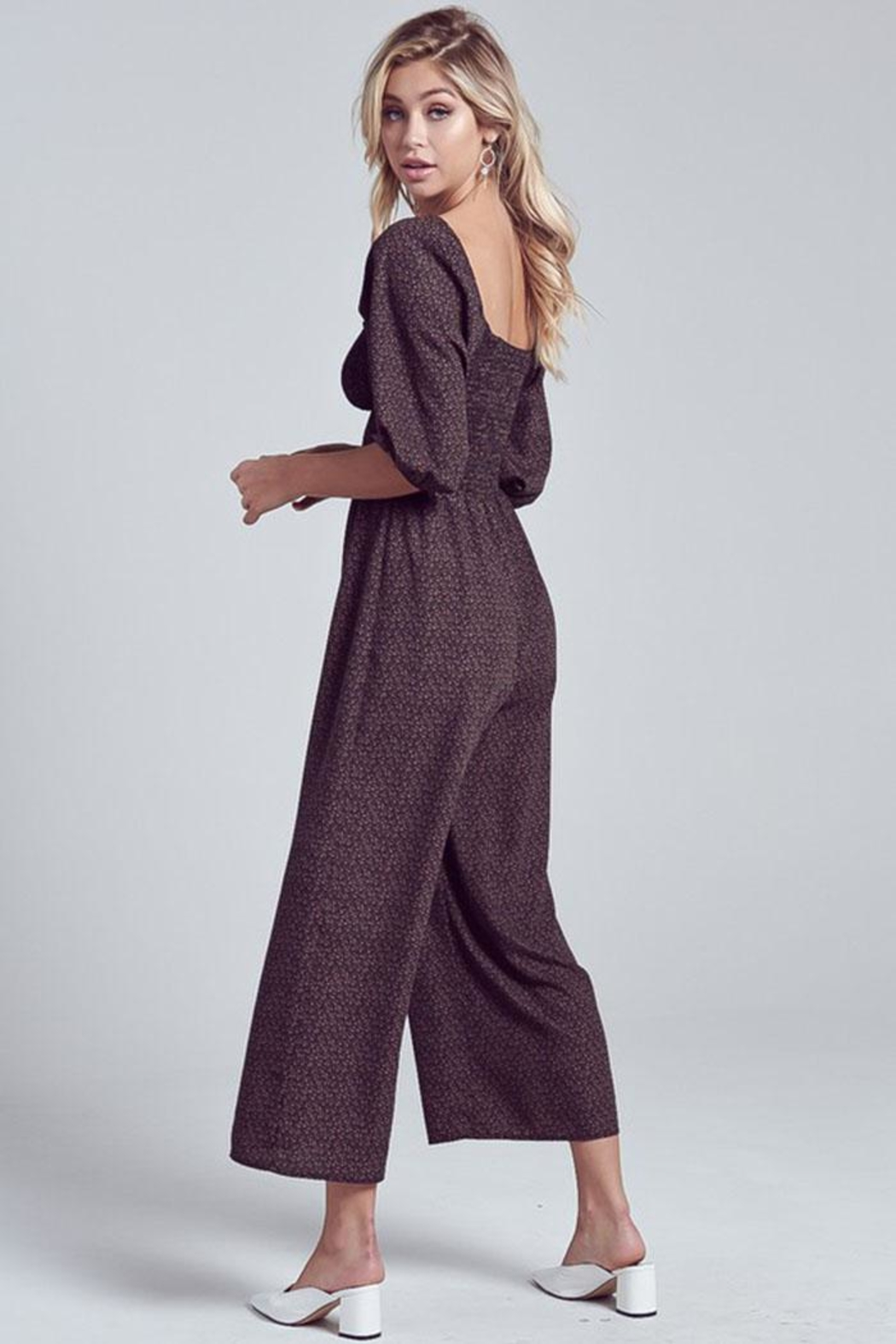 blue blush Puff Sleeve Jumpsuit - Side Cropped Image