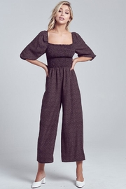 blue blush Puff Sleeve Jumpsuit - Front cropped