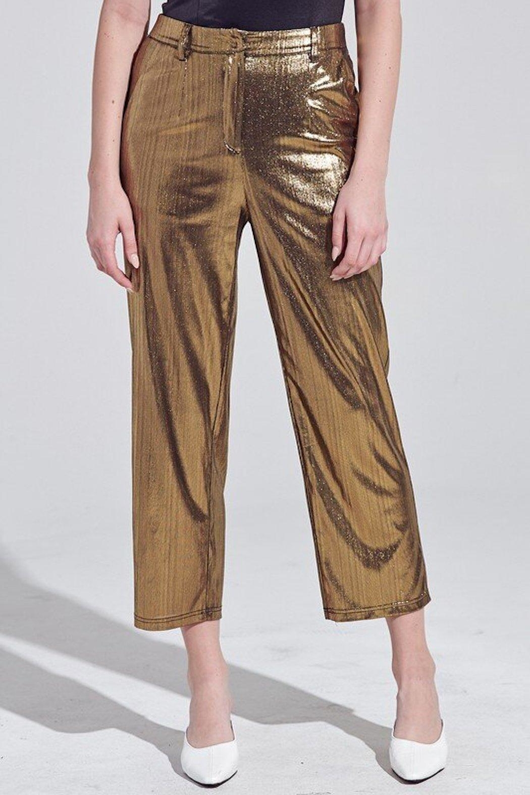 blue blush Pure Gold Pants - Front Cropped Image