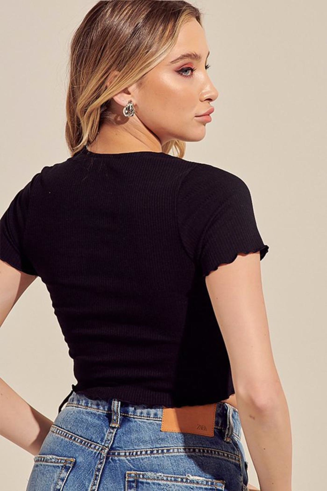 blue blush Ribbed Crop Top - Side Cropped Image
