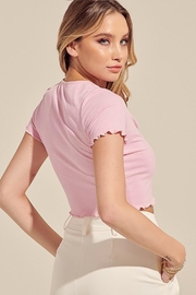blue blush Ribbed Crop Top - Back cropped