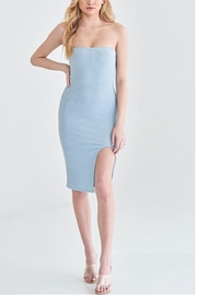 blue blush Ribbed Tube Dress - Front cropped
