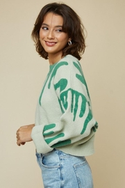 blue blush Round Neck Printed Sweater Crop Top - Side cropped