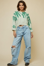 blue blush Round Neck Printed Sweater Crop Top - Product Mini Image