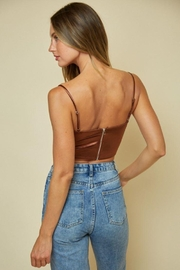 blue blush Satin Cowl Neck Crop Top - Front full body
