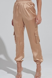 blue blush Satin Jogger Pants - Product Mini Image