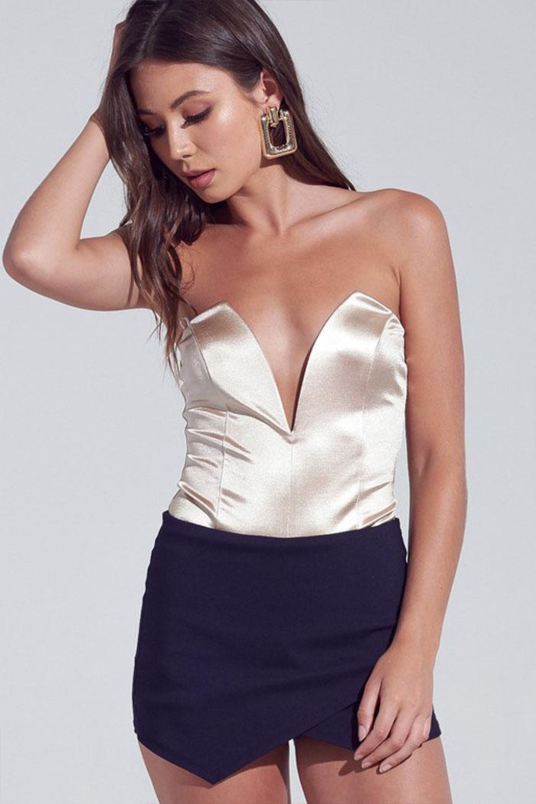 blue blush Satin Strapless Bodysuit - Front Cropped Image