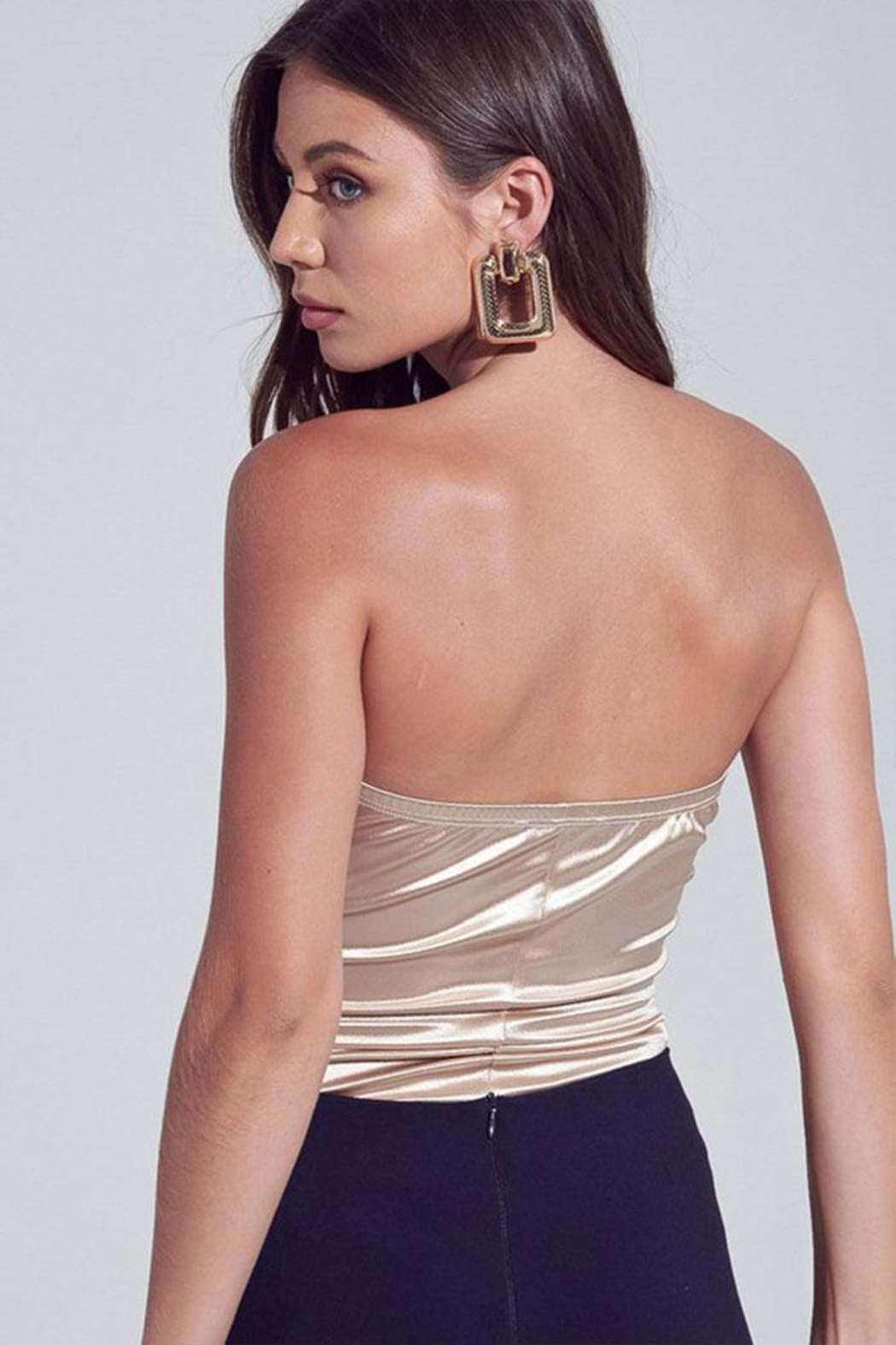 blue blush Satin Strapless Bodysuit - Side Cropped Image
