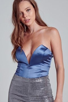 blue blush Satin Strapless Bodysuit - Product List Image