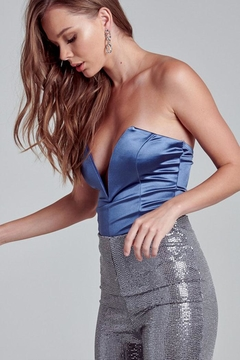 blue blush Satin Strapless Bodysuit - Alternate List Image