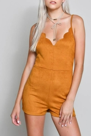 blue blush Scalloped Vegan-Suede Romper - Product Mini Image