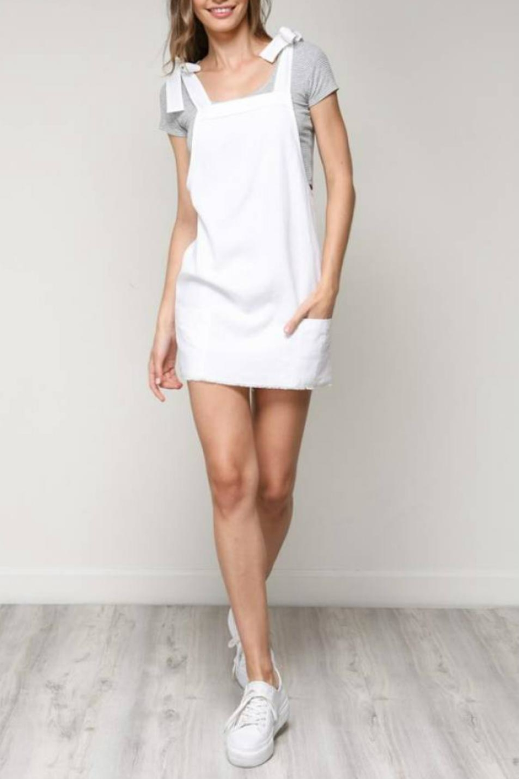 blue blush Shoulder-Tie Overall Dress - Back Cropped Image