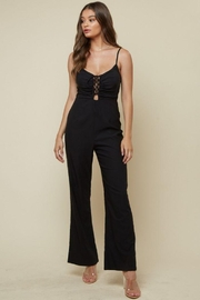blue blush Sleeveless Front Lace Up Jumpsuit - Front full body