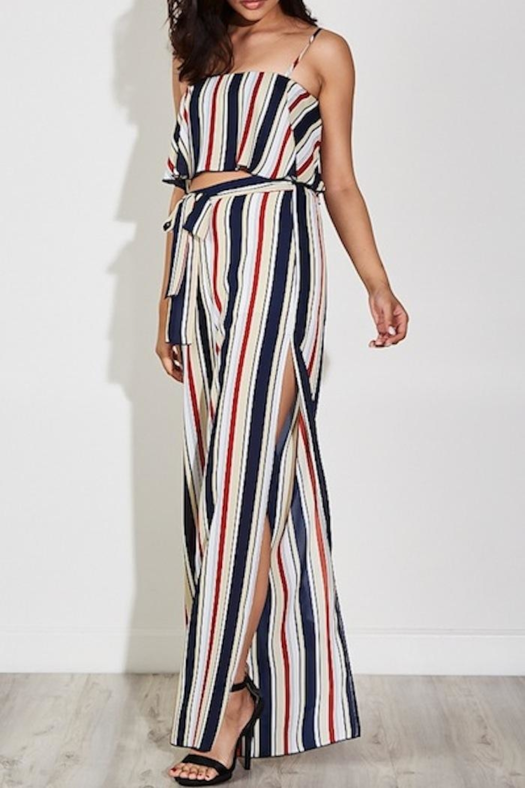 blue blush Striped Pant Set - Front Cropped Image