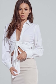 blue blush Tie Front Blouse - Front cropped
