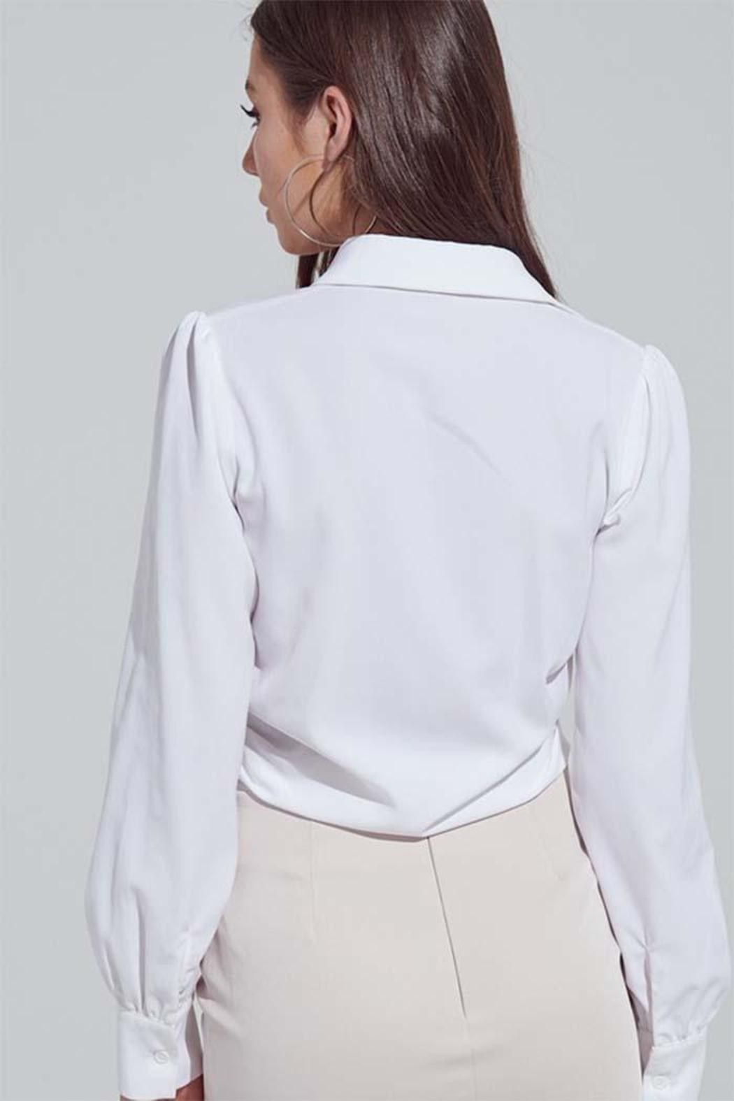 blue blush Tie Front Blouse - Side Cropped Image