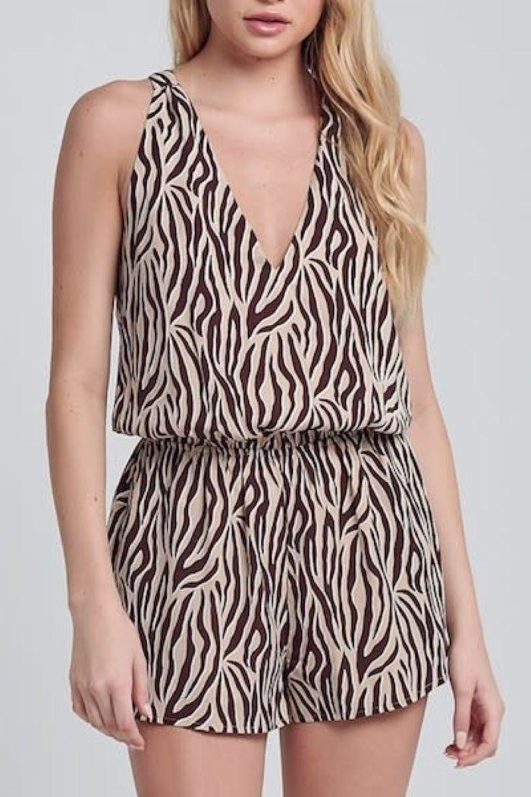 blue blush Tiger Stripe Romper - Main Image