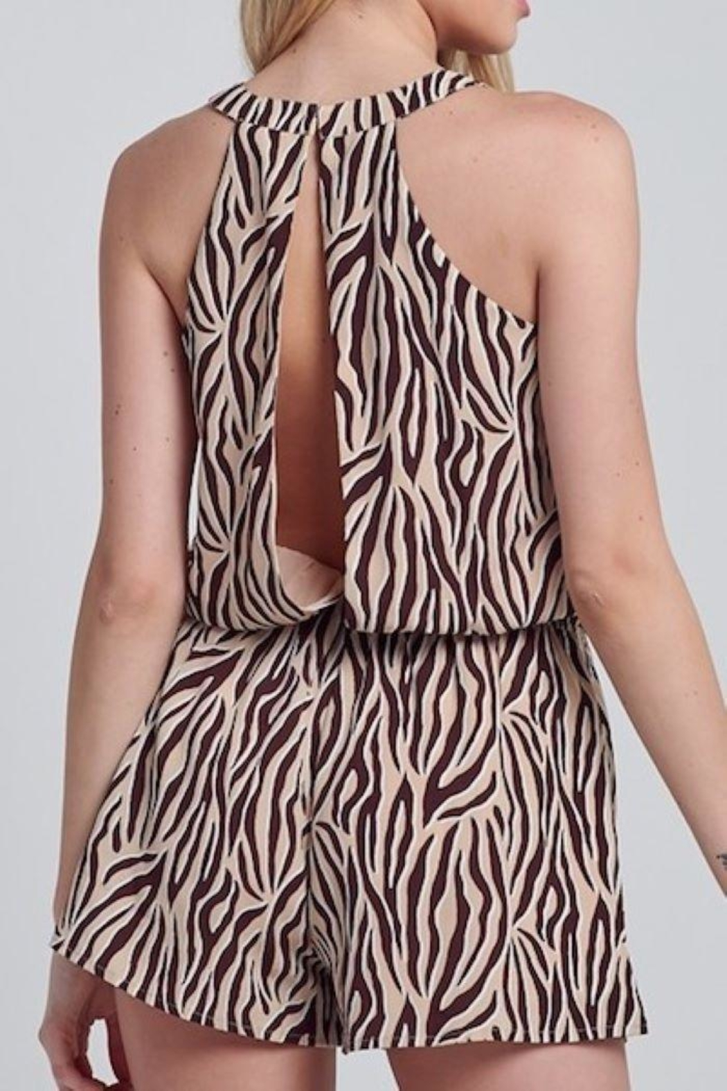 blue blush Tiger Stripe Romper - Side Cropped Image