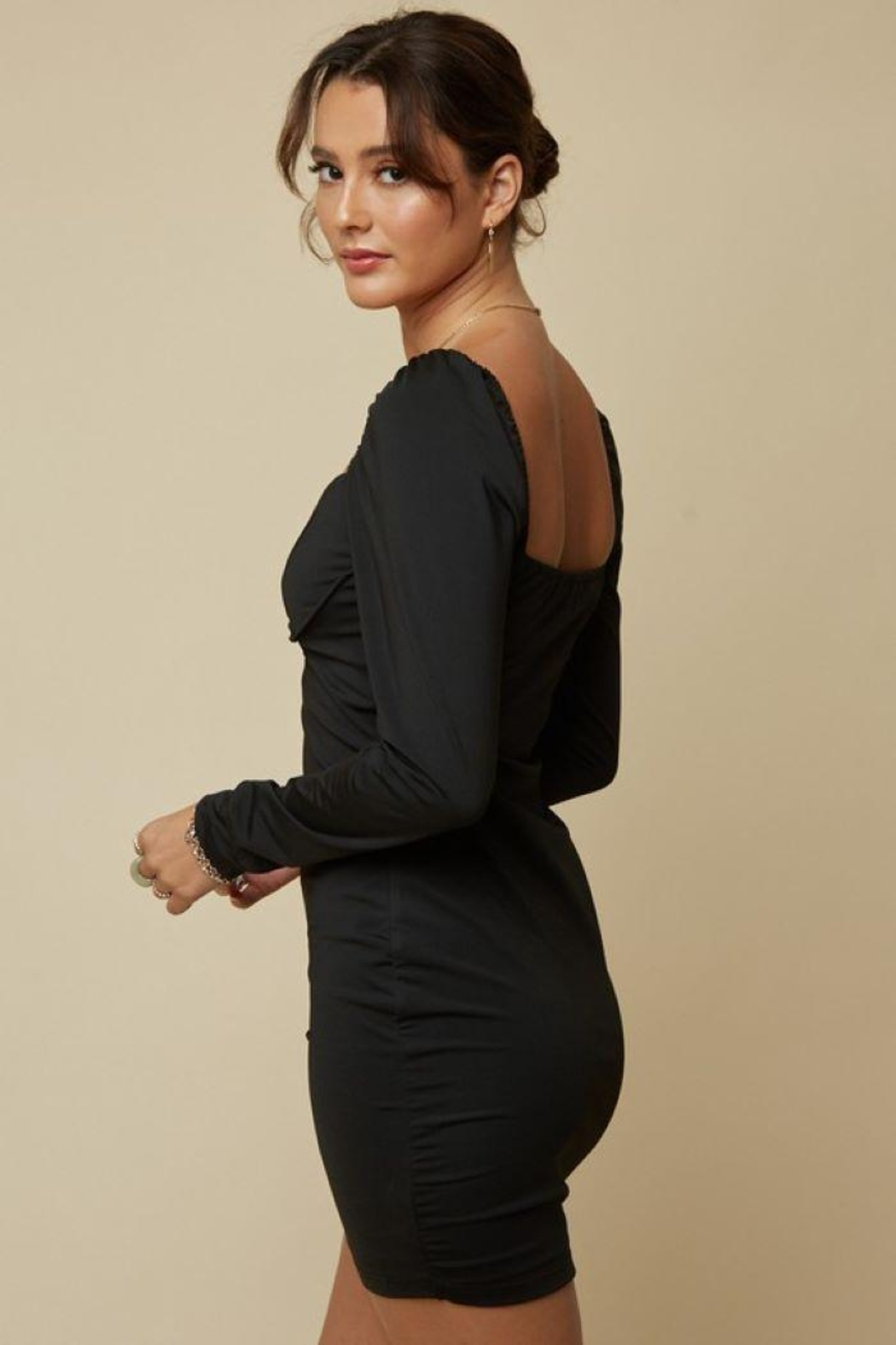 blue blush Underwire Detail Bodycon Dress - Back Cropped Image