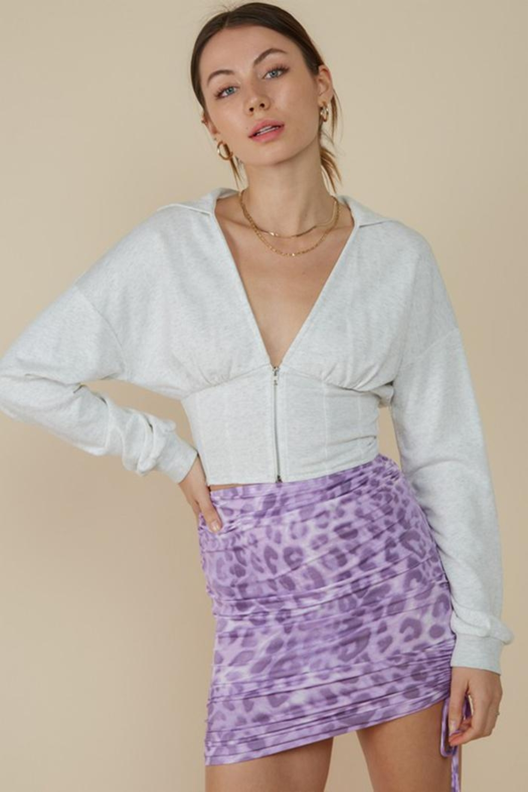 blue blush V-Neck French Terry Hoodie - Main Image