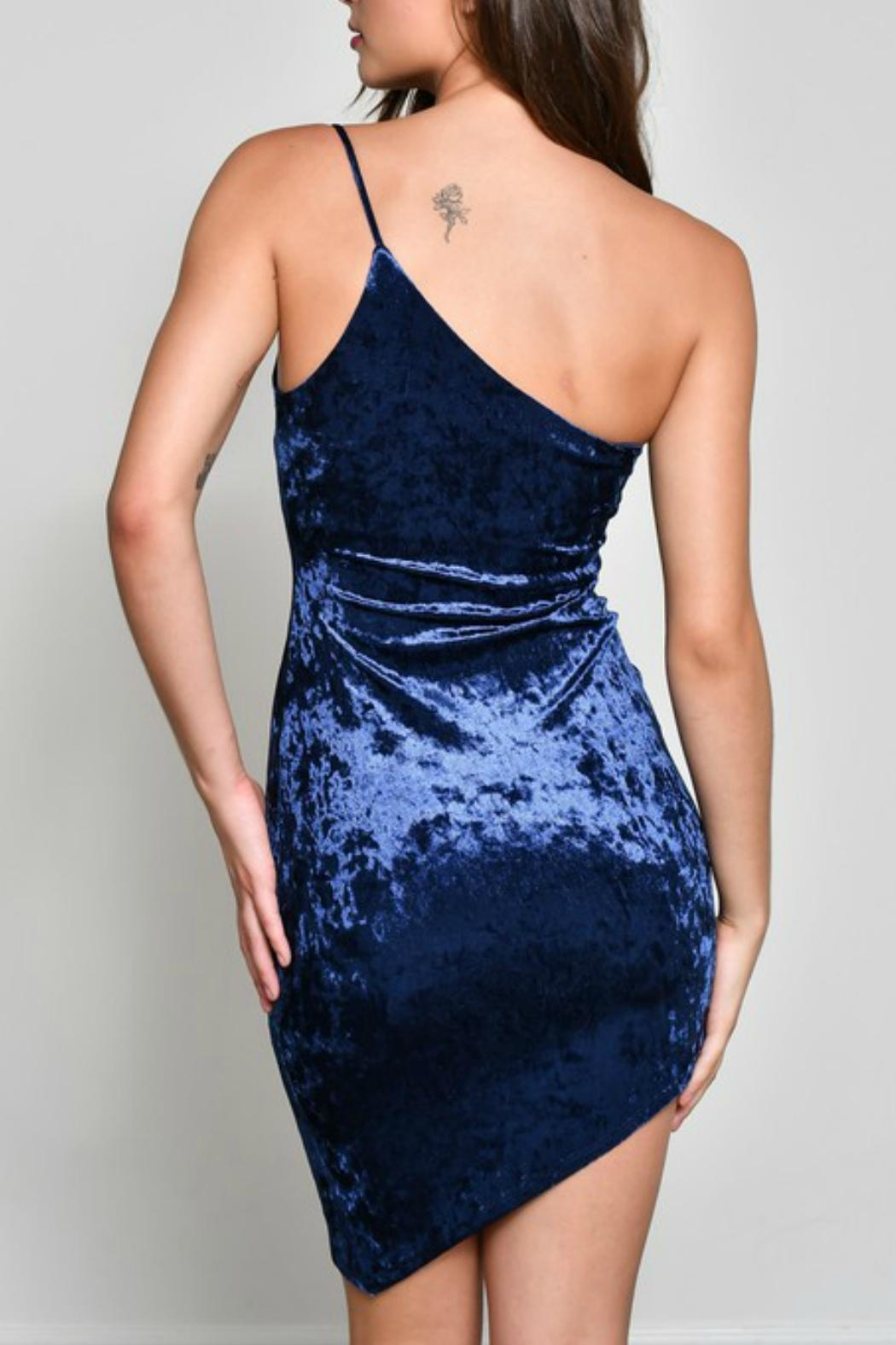 blue blush Velvet One-Shoulder Dress - Side Cropped Image