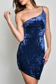 blue blush Velvet One-Shoulder Dress - Front full body