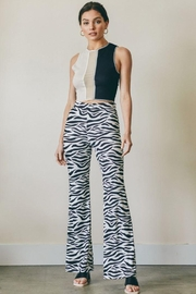 blue blush Zebra Print Ribbed Pants - Product Mini Image