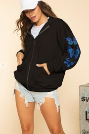 Blue Buttercup Butterfly Zip Up - Front cropped