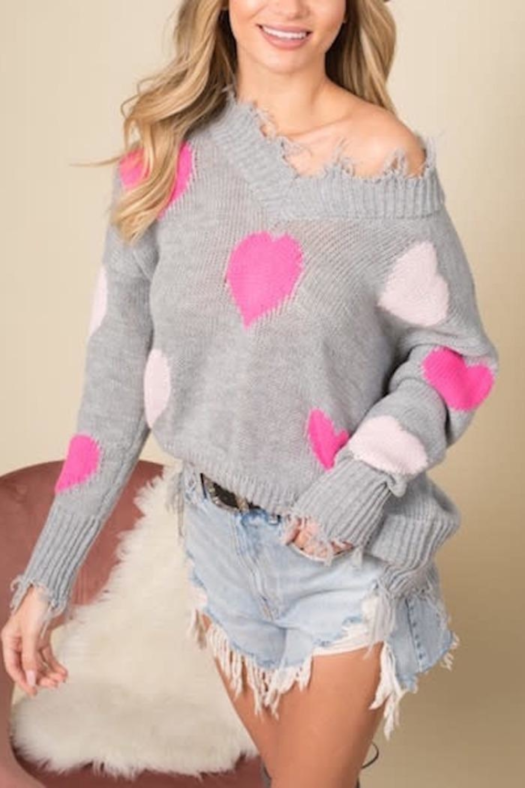 Blue Buttercup Distressed Heart Sweater - Main Image