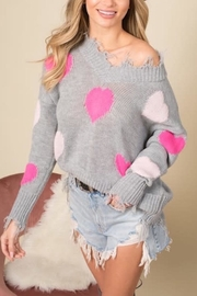 Blue Buttercup Distressed Heart Sweater - Front cropped