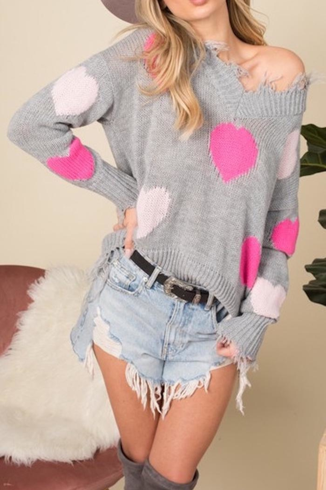 Blue Buttercup Distressed Heart Sweater - Front Full Image