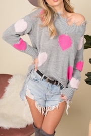 Blue Buttercup Distressed Heart Sweater - Front full body
