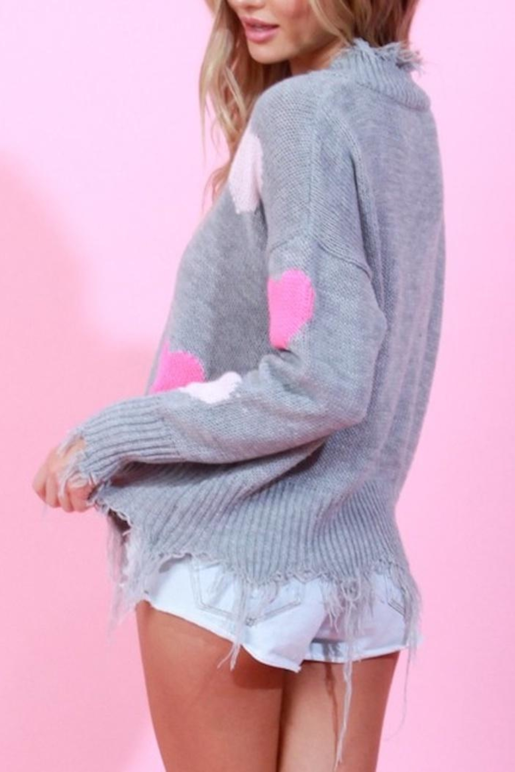 Blue Buttercup Distressed Heart Sweater - Side Cropped Image