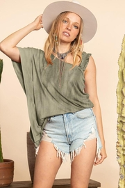 Blue Buttercup Distressed Top With Shoulder Detail - Product Mini Image