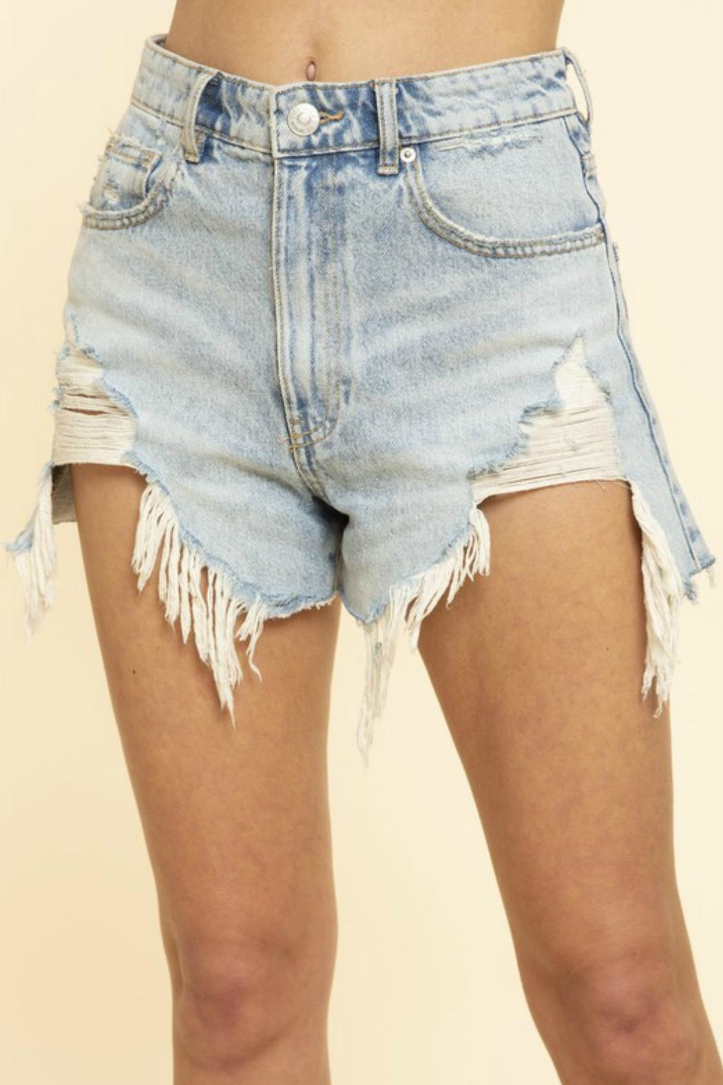 Blue Buttercup Frayed Denim Shorts - Front Full Image
