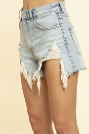 Blue Buttercup Frayed Denim Shorts - Side cropped