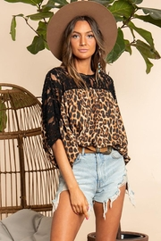 Blue Buttercup Lace And Leopard Mix Match Top - Product Mini Image