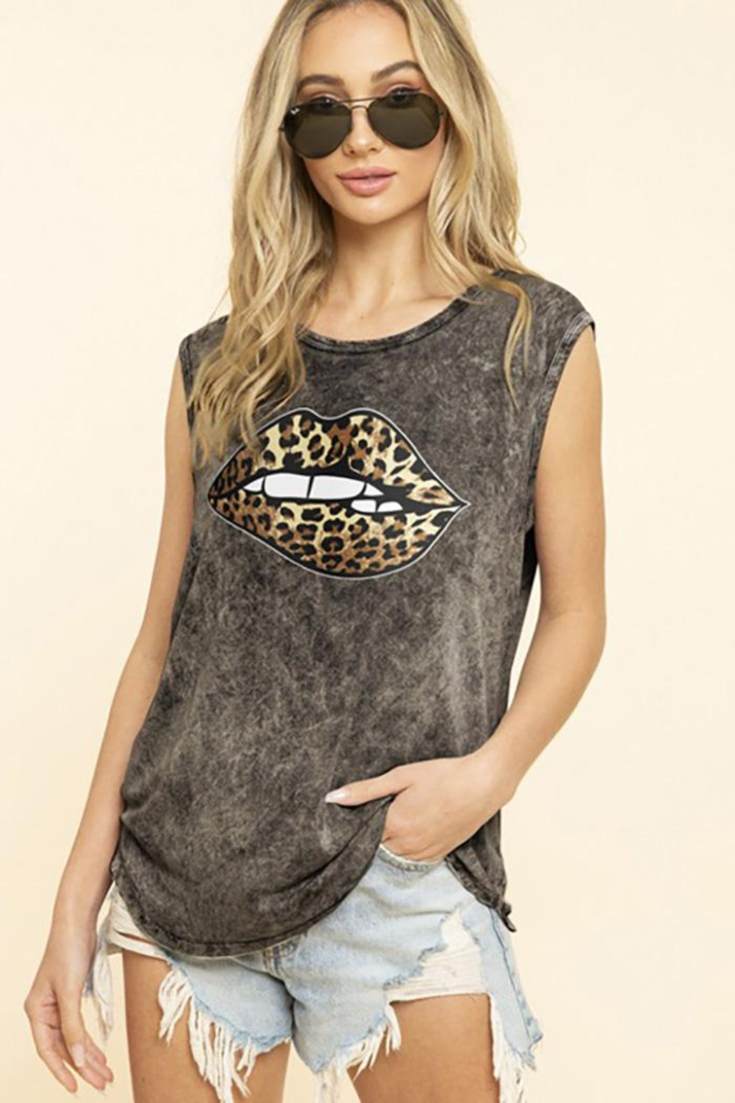 Blue Buttercup Leopard Bite Lips On Mineral Dyed Tank Top - Front Cropped Image