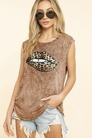 Blue Buttercup Leopard Bite Lips On Mineral Dyed Tank Top - Product Mini Image