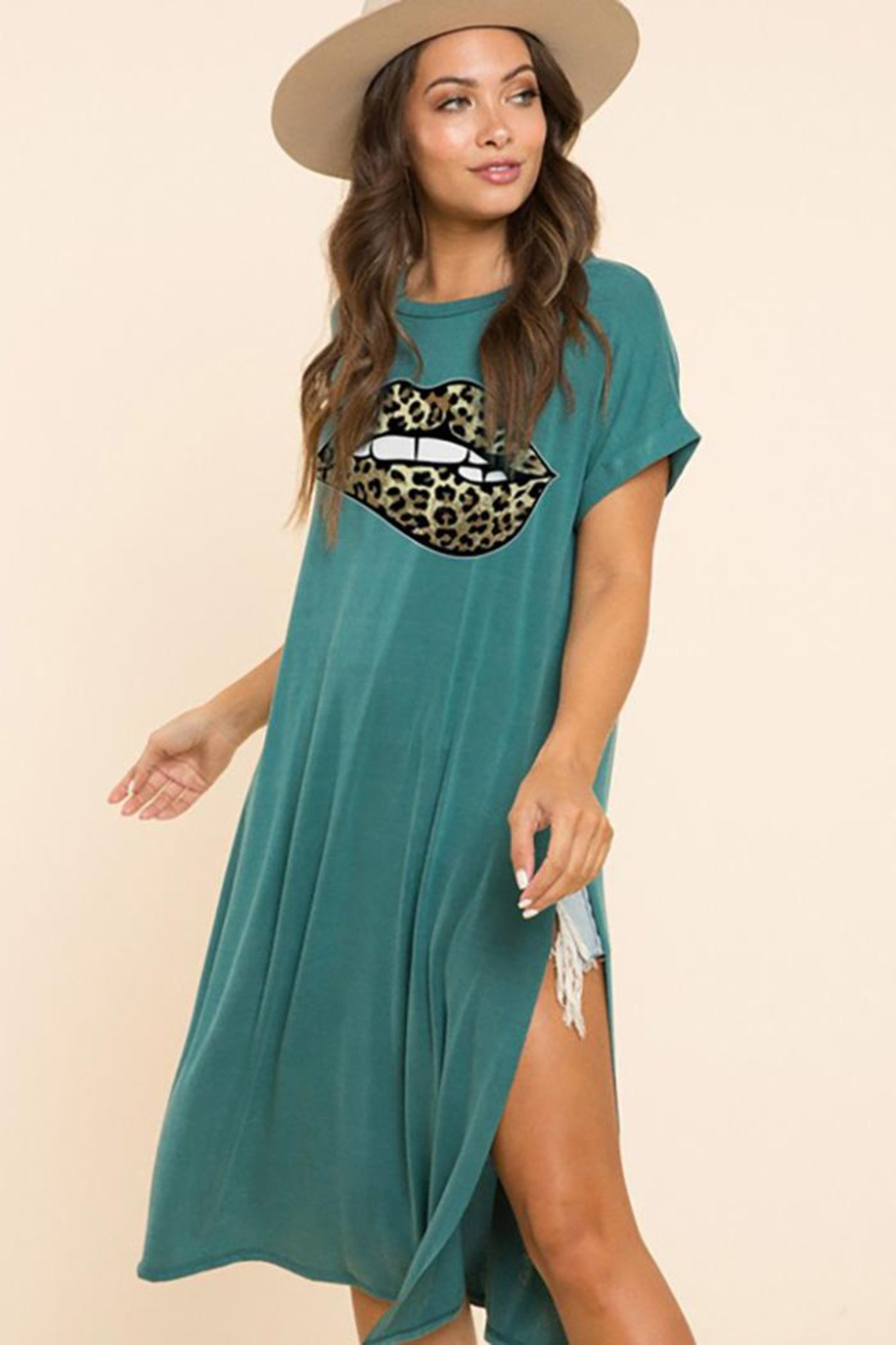 Blue Buttercup Leopard Lip Printed On Jersey Top - Front Cropped Image