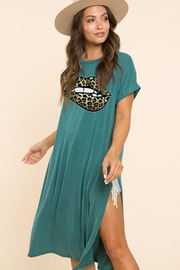 Blue Buttercup Leopard Lip Printed On Jersey Top - Front cropped