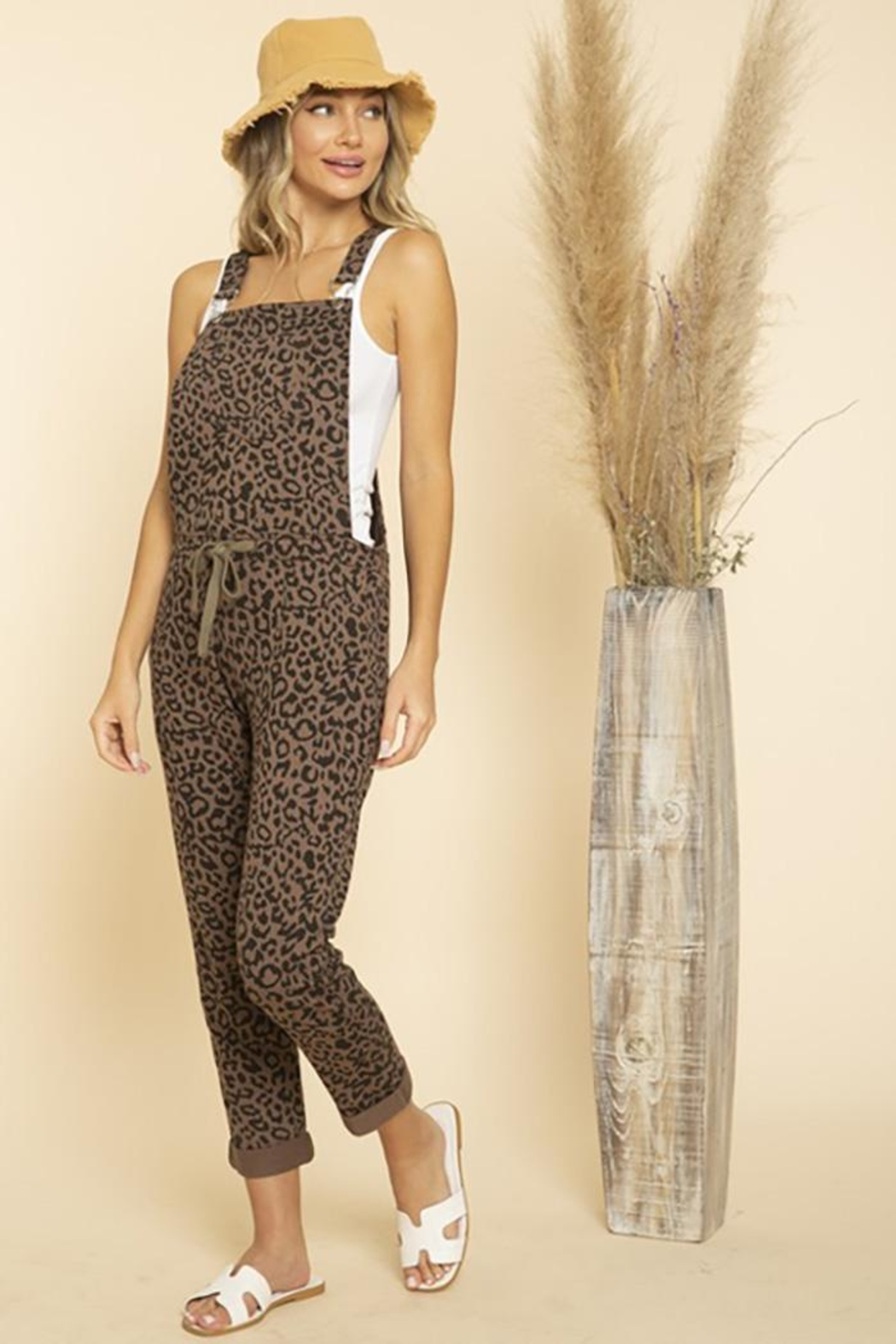 Blue Buttercup Leopard Printed Jumpsuit Overall - Side Cropped Image
