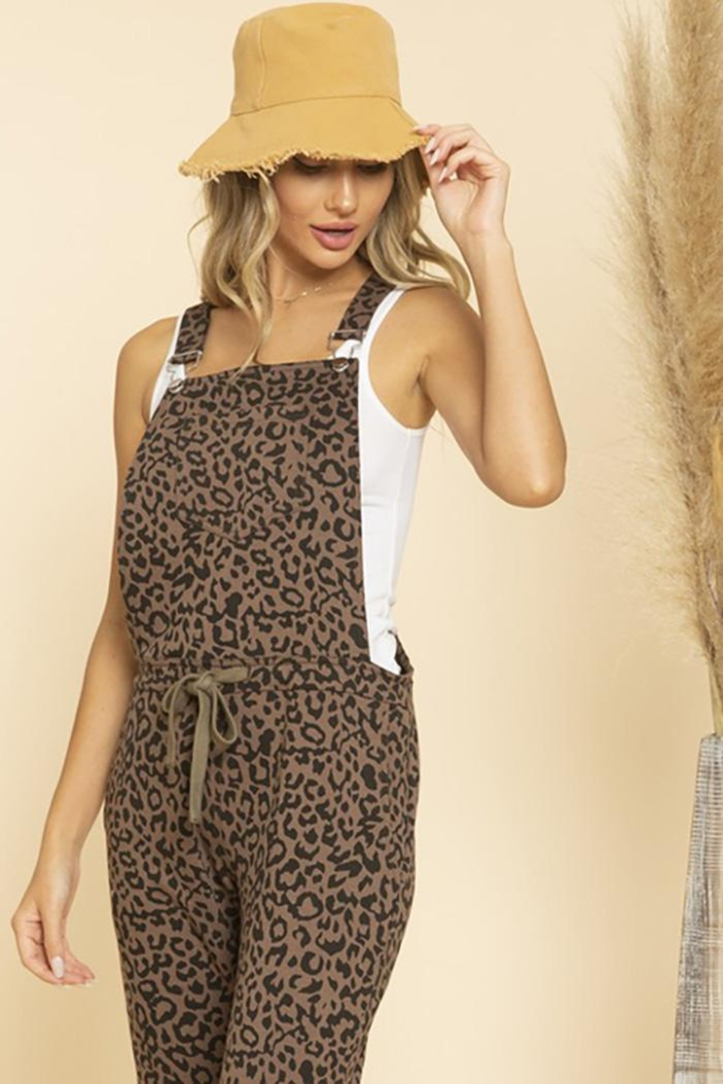 Blue Buttercup Leopard Printed Jumpsuit Overall - Front Full Image
