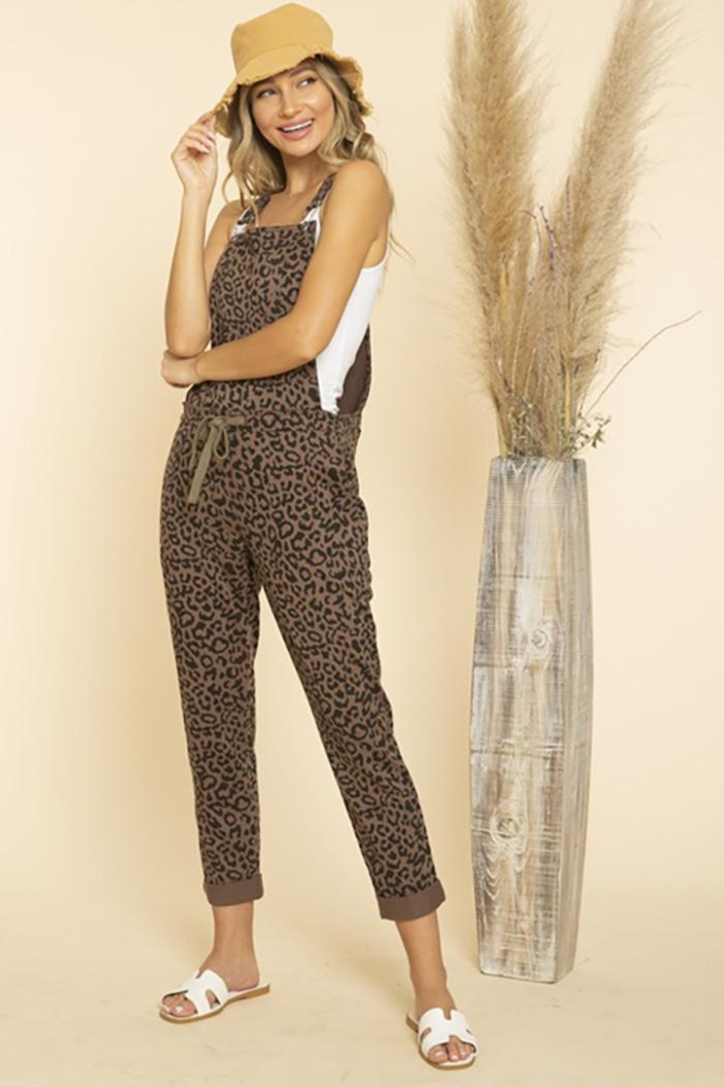 Blue Buttercup Leopard Printed Jumpsuit Overall - Back Cropped Image