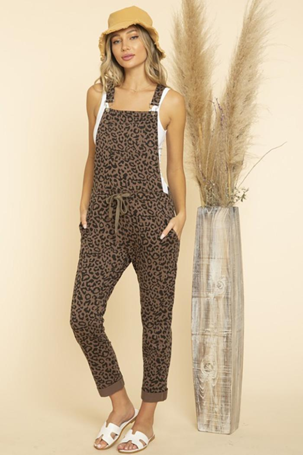 Blue Buttercup Leopard Printed Jumpsuit Overall - Main Image