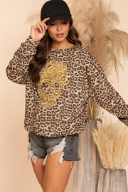 Blue Buttercup Leopard Sweatshirts With Skull Stud - Product Mini Image