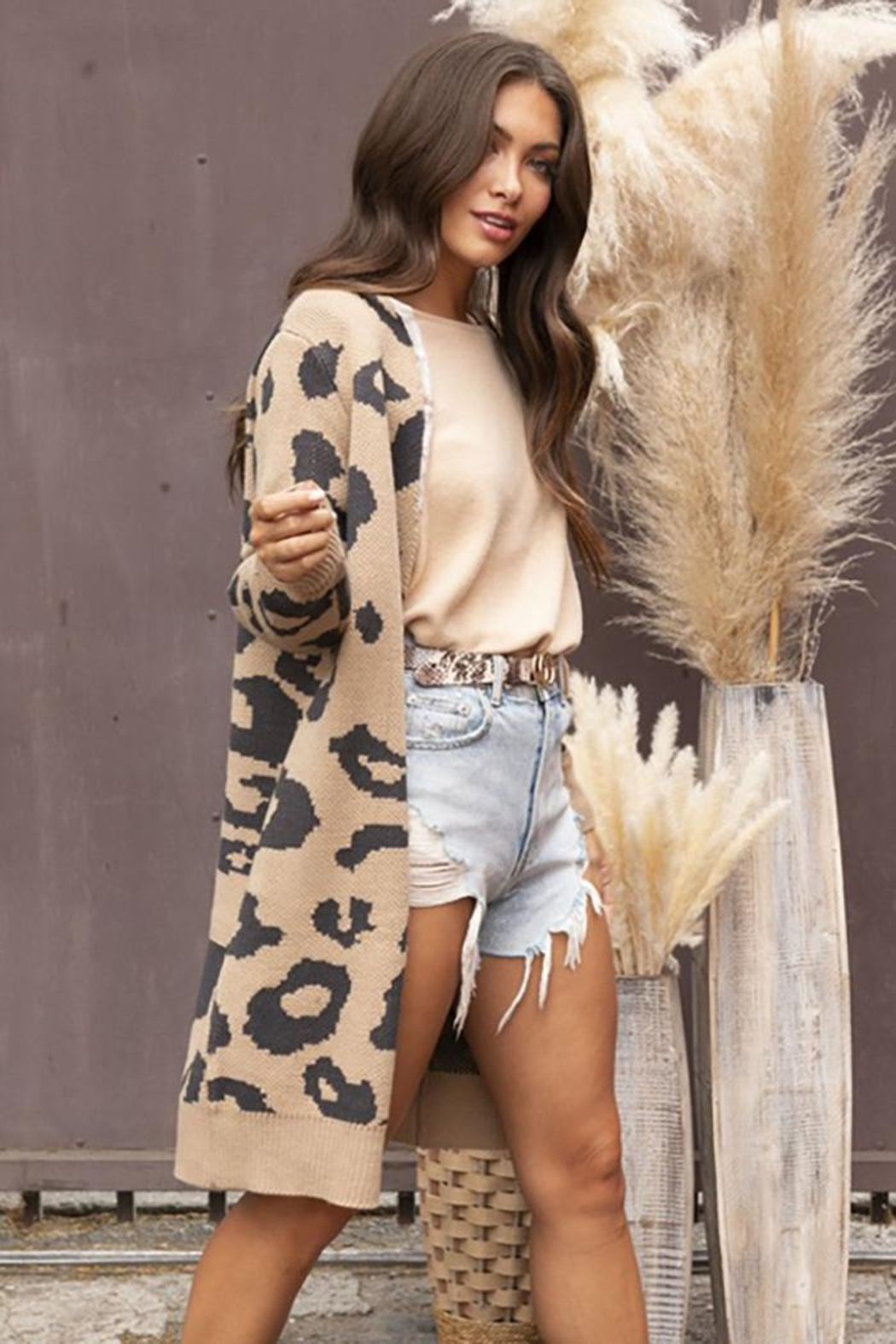 Blue Buttercup Long Sleeve Leopard Cardigan - Front Full Image