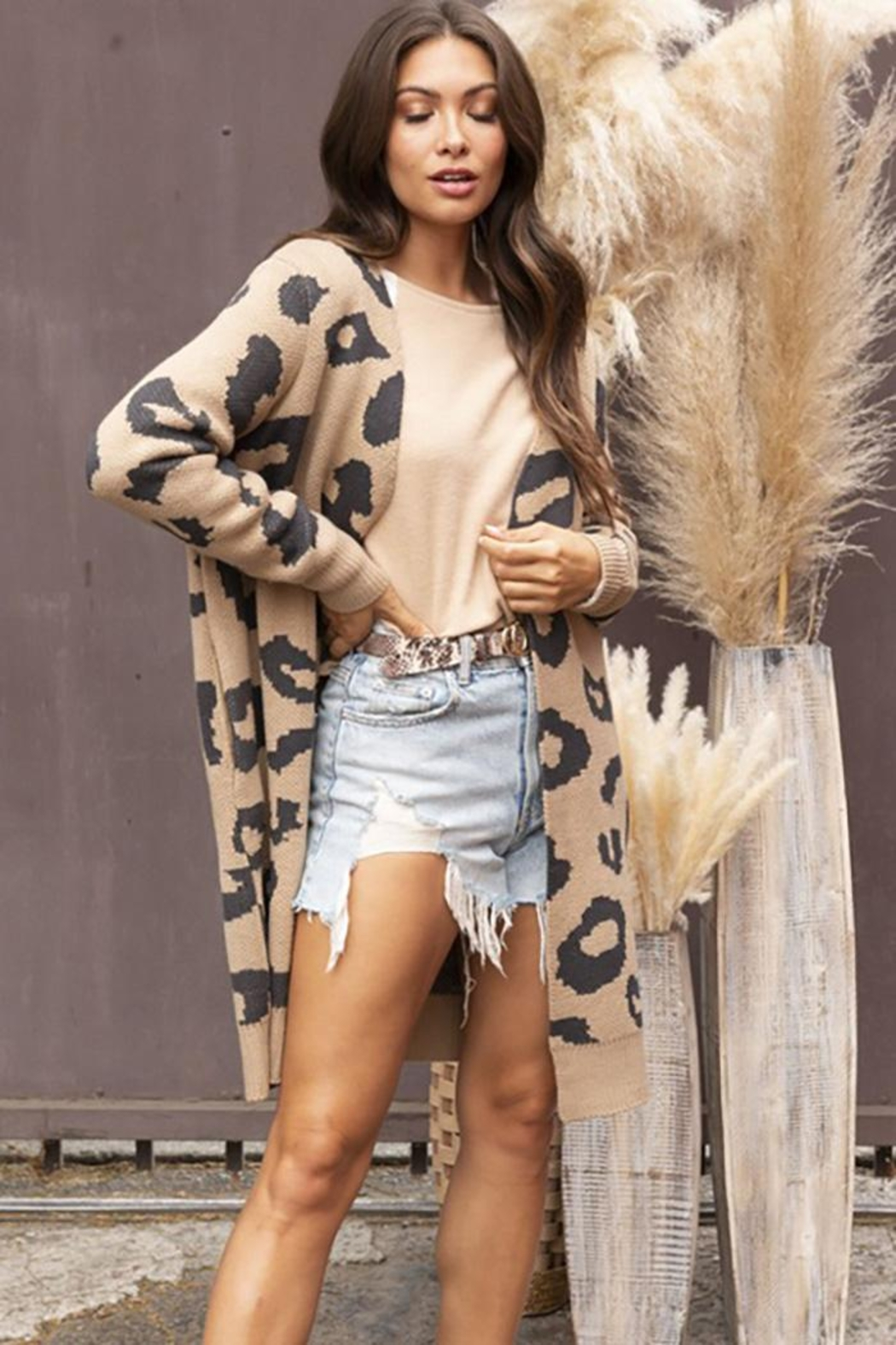 Blue Buttercup Long Sleeve Leopard Cardigan - Side Cropped Image