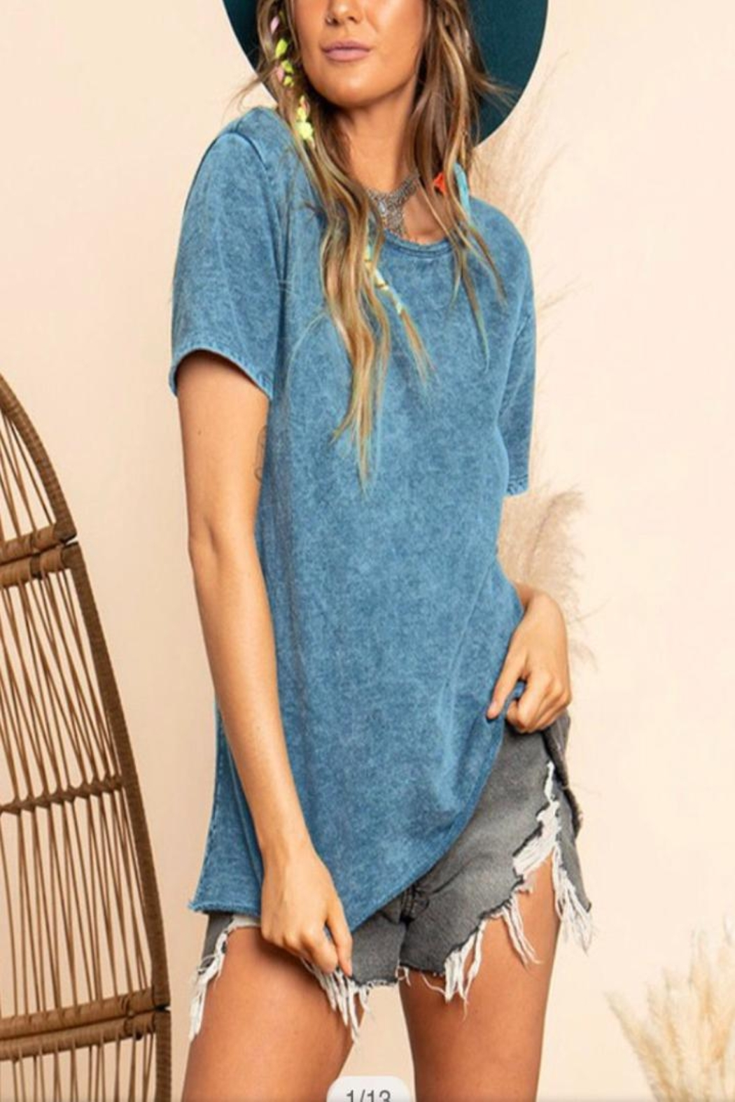 Blue Buttercup Mineral Dye Top - Front Full Image