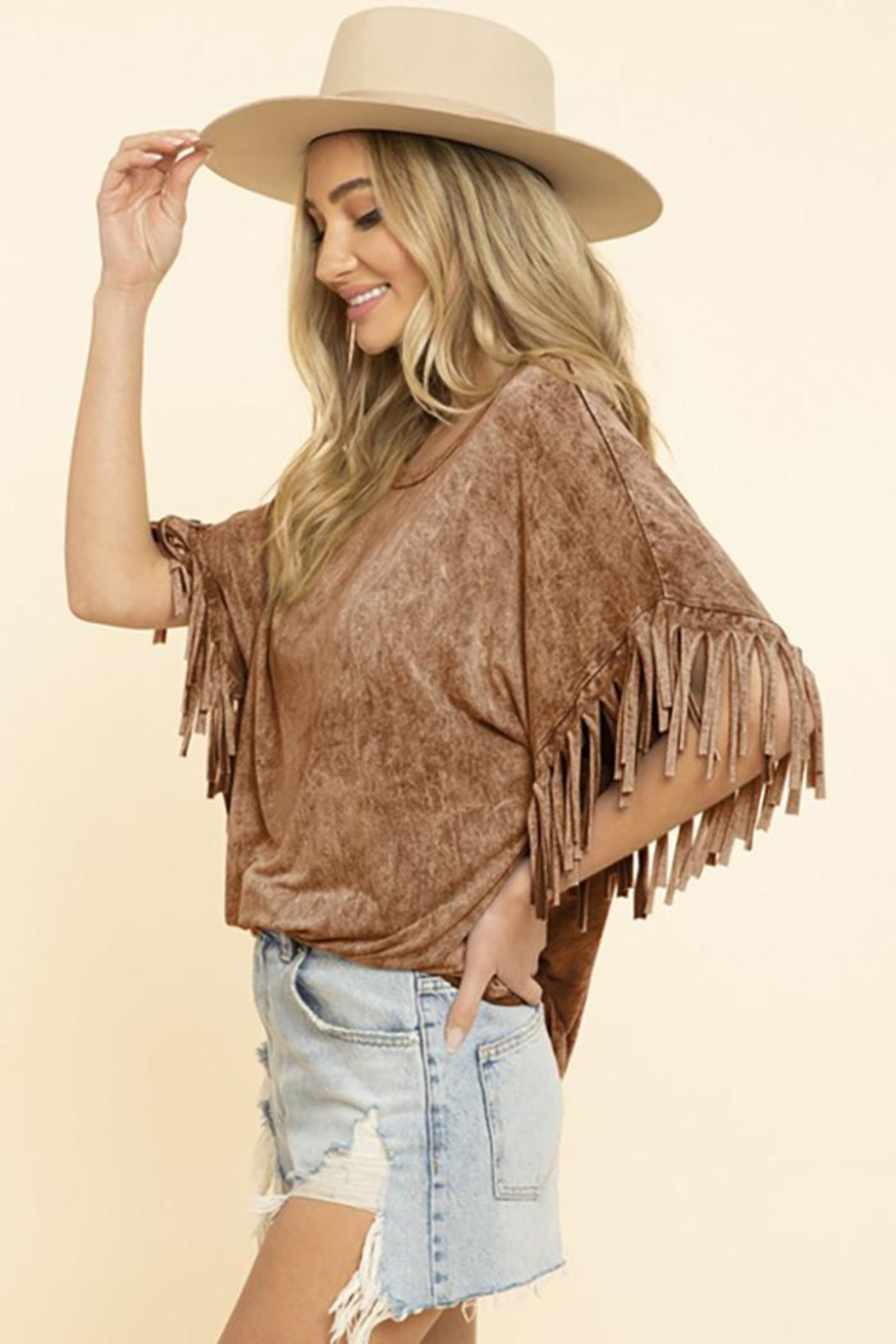 Blue Buttercup Mineral Dyed Fringe Top - Front Cropped Image